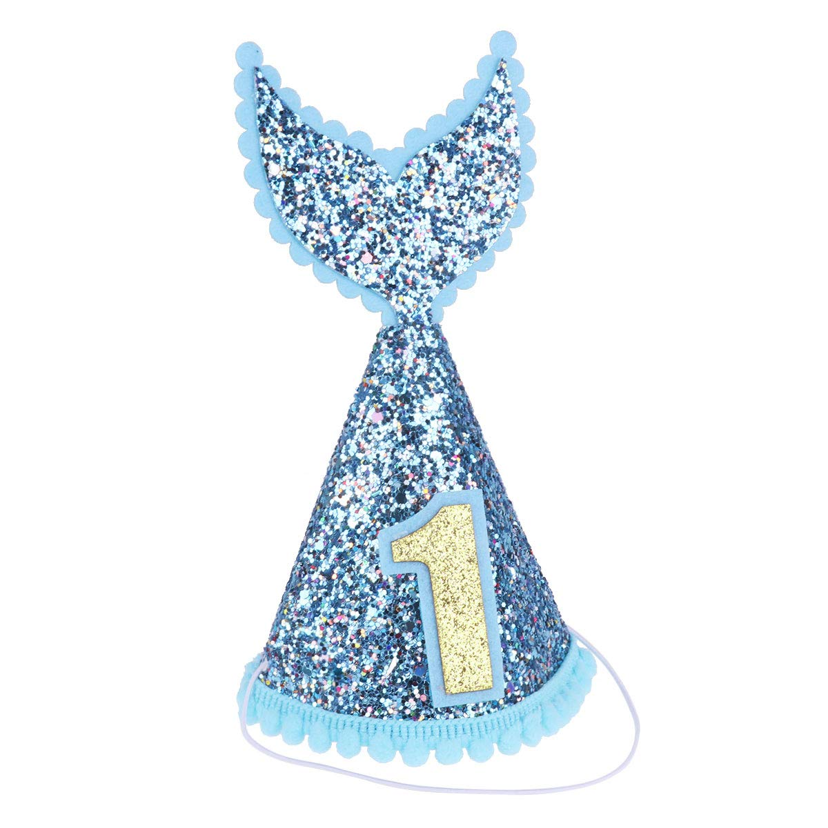 YiZYiF Glitter Mermaid Tail Hat with Elastic Band for Baby 1st Birthday Party Decoration Blue One Size