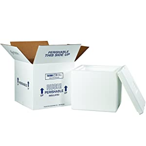 """Boxes Fast BF230C Insulated Shipping Box with Foam Container, 12"""" x 12"""" x 11 1/2"""", Medium, White"""