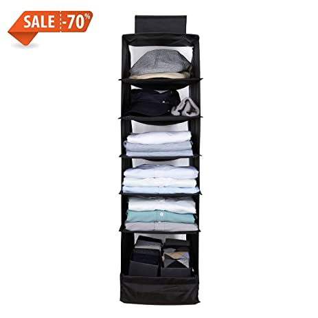 Xaestival 6 Shelves Hanging Closet Organizer Breathable Polypropylene Hanging  Shelves Black
