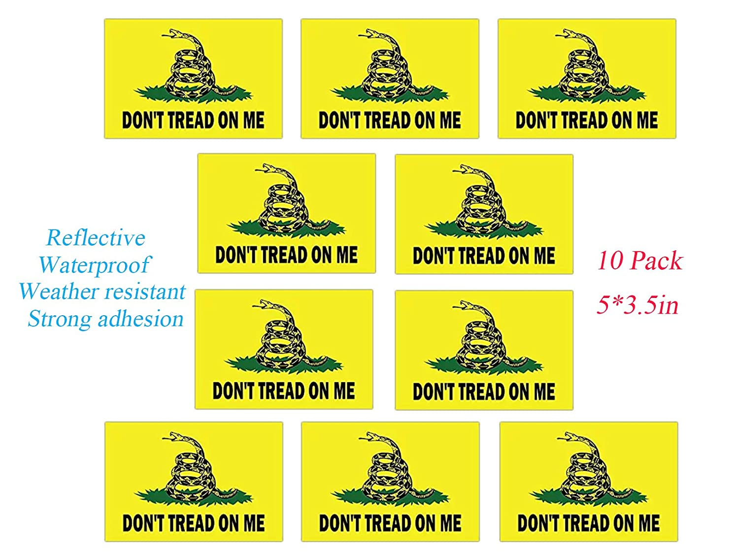 Towee reflective dont tread on me decals gadsden dont tread on me heavy duty decal stickers for car jeep suvtruck etc 5x3 5 inch