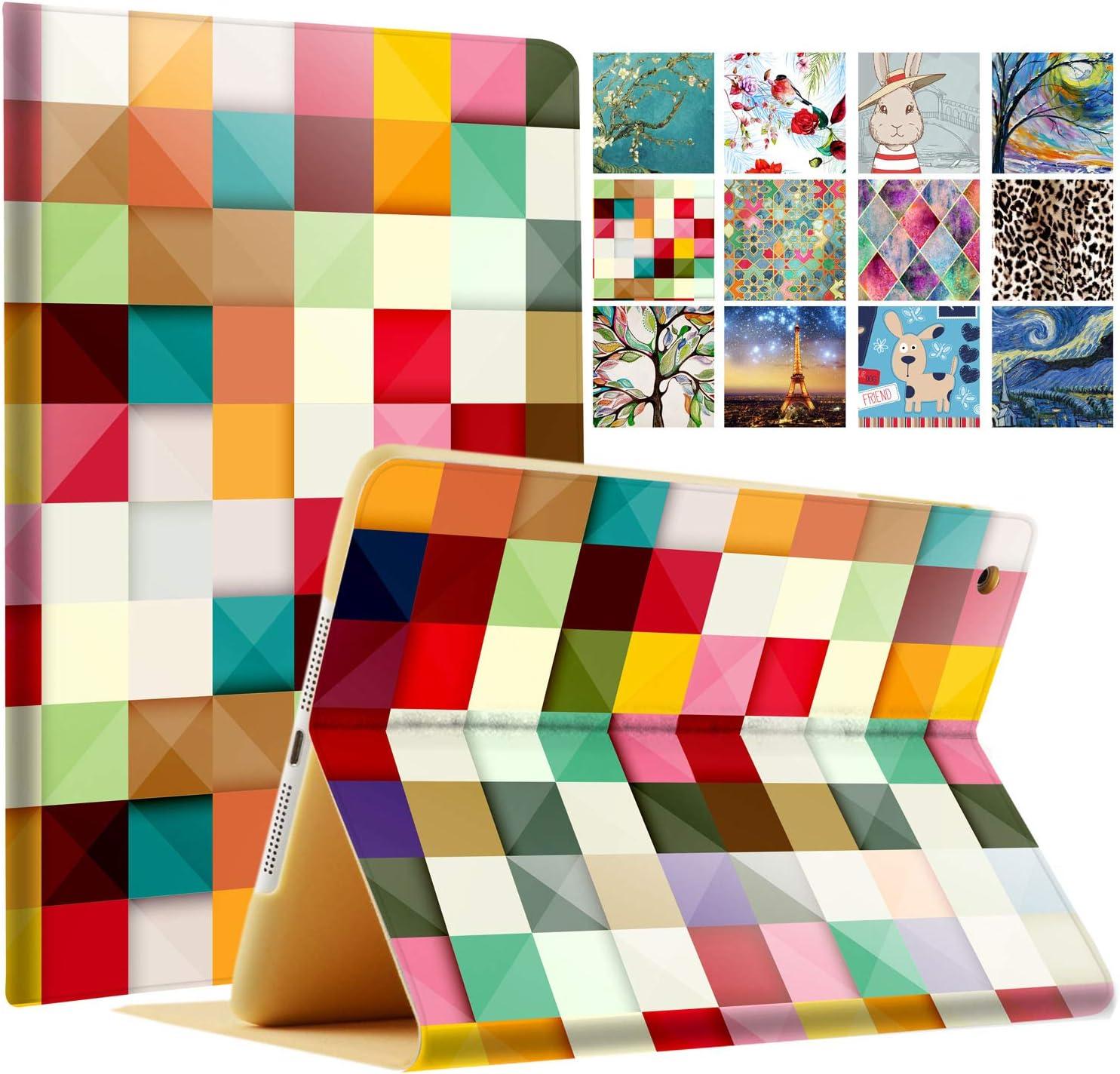 DuraSafe Case for iPad Mini 3 / Mini 2 / Mini 1-7.9 Inch [ A1432 A1454 A1455 A1489 A1490 A1491 A1599 A1600 ] Printed Smart Cover Slim Folio - Color Grid