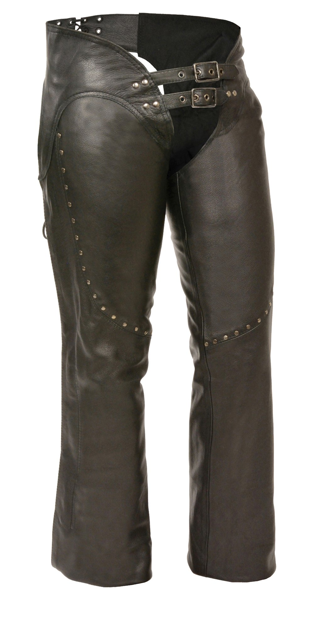 M-BOSS MOTORCYCLE APPAREL-BOS26502-BLACK-Women's low rise leather chaps.-BLACK-LARGE