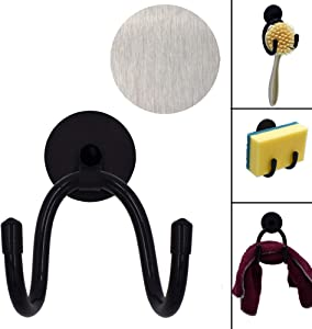 YYST Magnetic Sink Sponge Holder Dish wand Holder Brushes Holder - No Rust No Suction Cups - W Metal Plates on the inside of the sink- No sponge (1)
