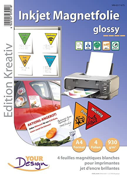 Magnet Druck Folien 4 Inkjet-Magnetfolien wasserfest A4 hochglänzend//weiß