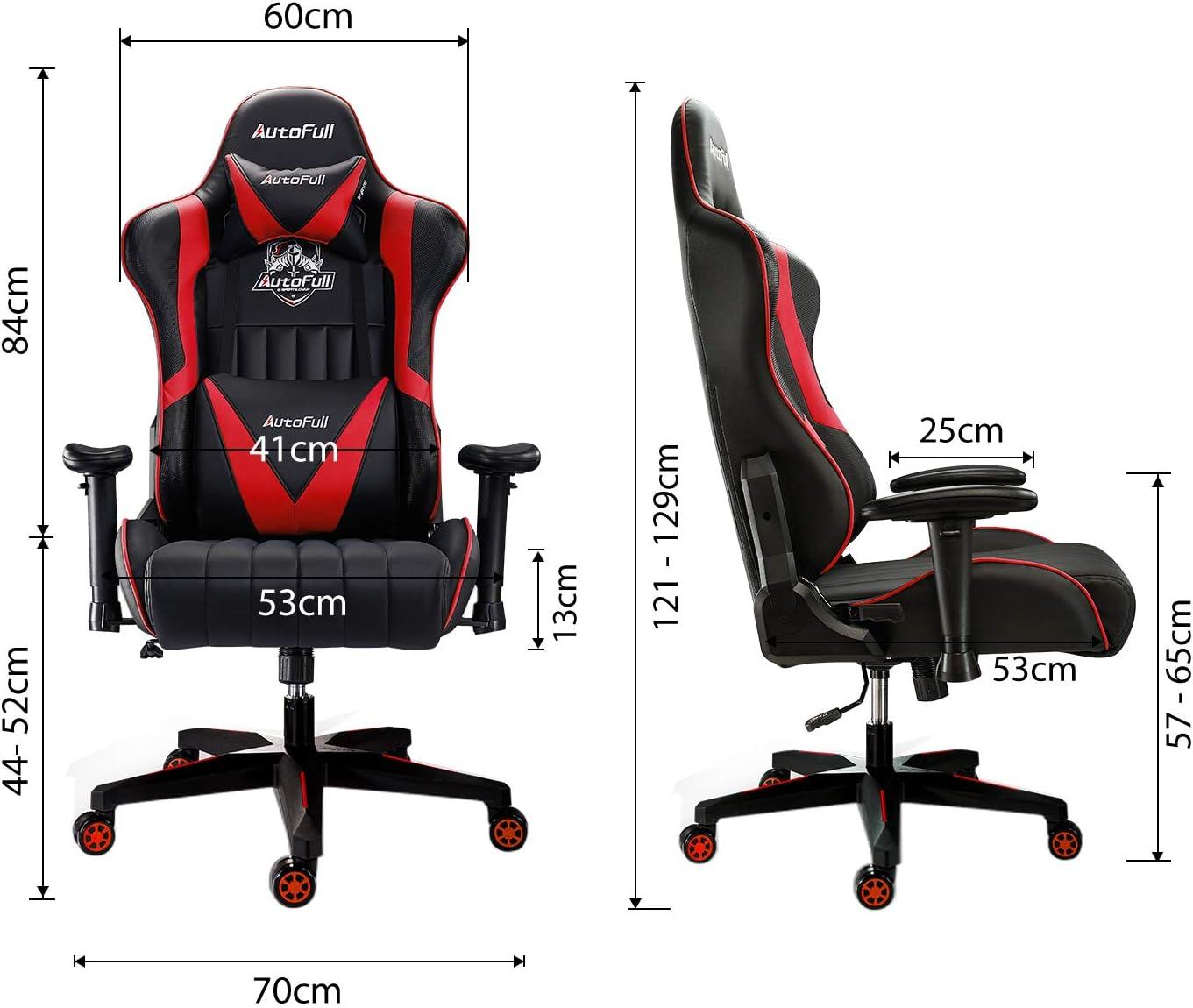 DREI Jahre Garantie AutoFull Gaming Stuhl Schreibtischstuhl Gamer Ergonomischer B/ürostuhl mit hoher R/ückenlehne und Lendenwirbelst/ütze,PU-Leder,Einstellbare Sitzh/öhe und R/ückenlehnenneigung,Rot