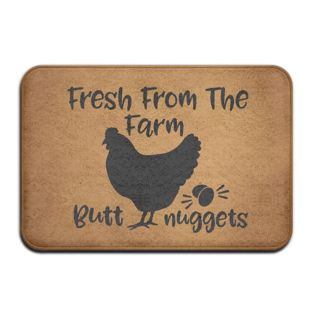 NewOxygen Rustic Country Fresh From The Farm Butt Nuggest Funny Entrance Floor Mat Rug Indoor/Kitchen/Front Door/Bathroom Mats Non-slip Rubber Personalized 23.6(L) X 15.7(W) inch