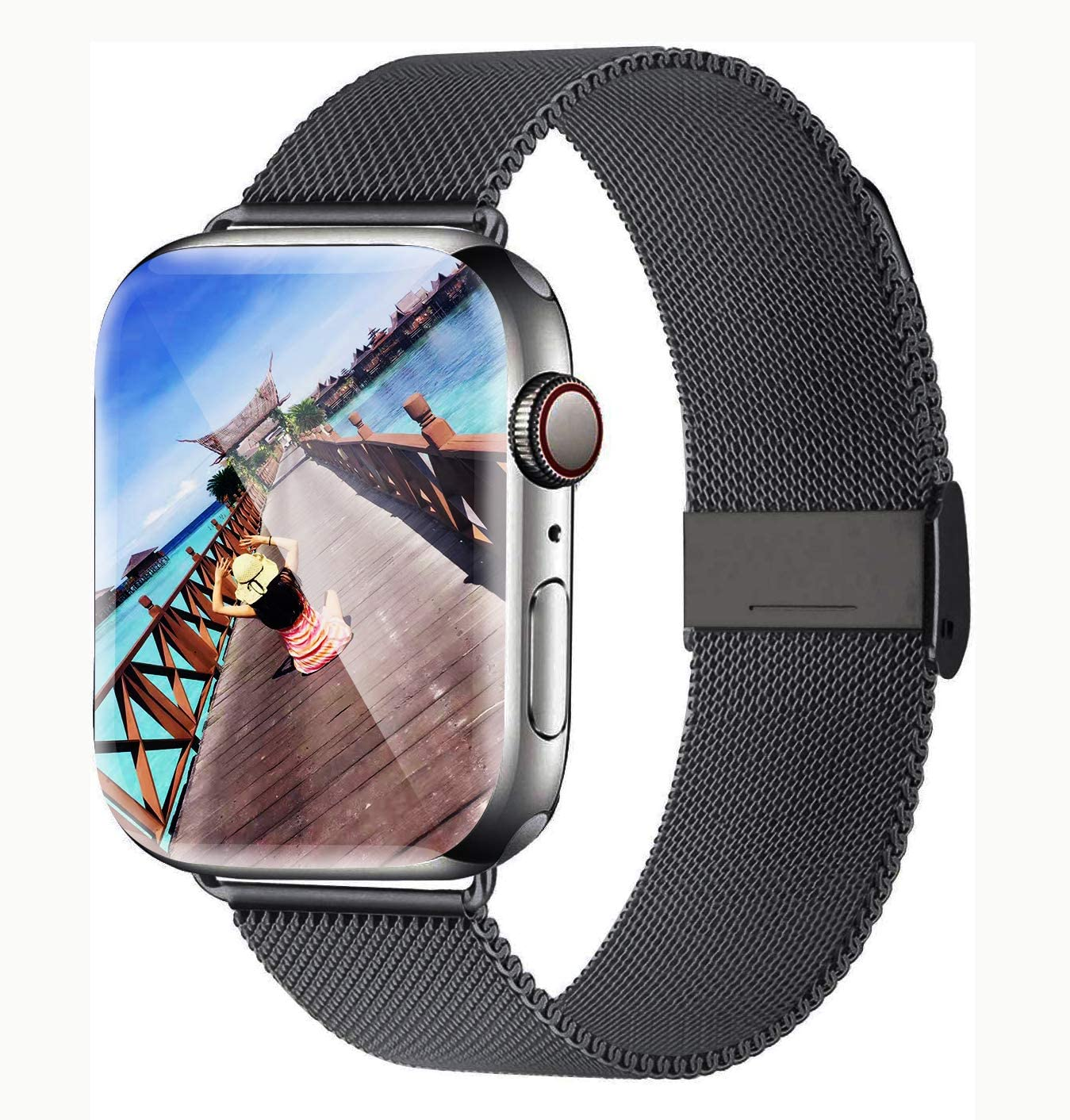Yaber Stainless Steel Mesh Replacement Band Compatible for Aple Watch 38 mm 40mm 42 mm 44mm Series 6/SE/5/4/3/2/1 (Space Gray, 42MM/44MM)