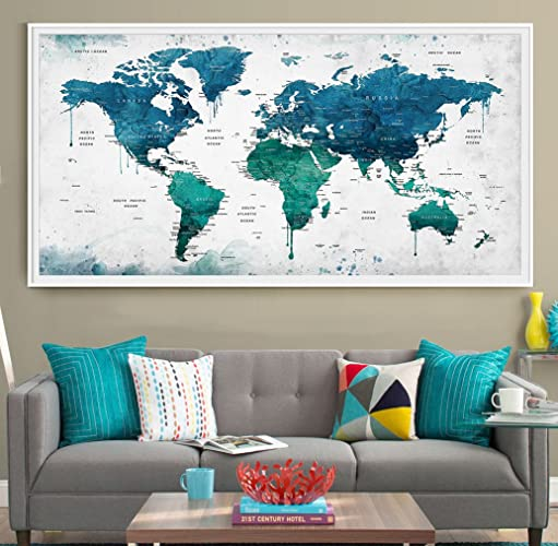 Amazon extra large watercolor push pin map poster print world extra large watercolor push pin map poster print world map wall art artwork gumiabroncs Image collections