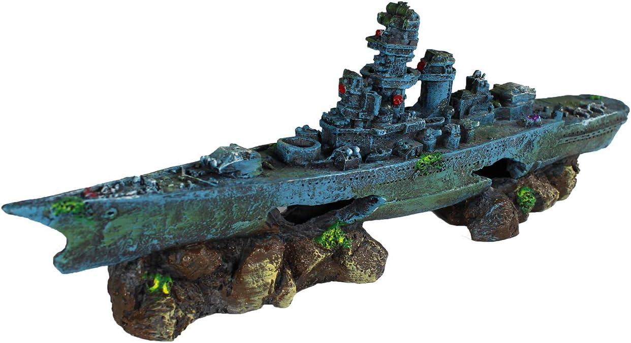 Penn Plax Battleship Aquarium Fish Tank Decoration