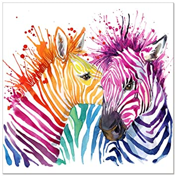 Animal Canvas Wall Art,Modern Living Room Wall Decals,Colorful Zebra Artwork  Prints For