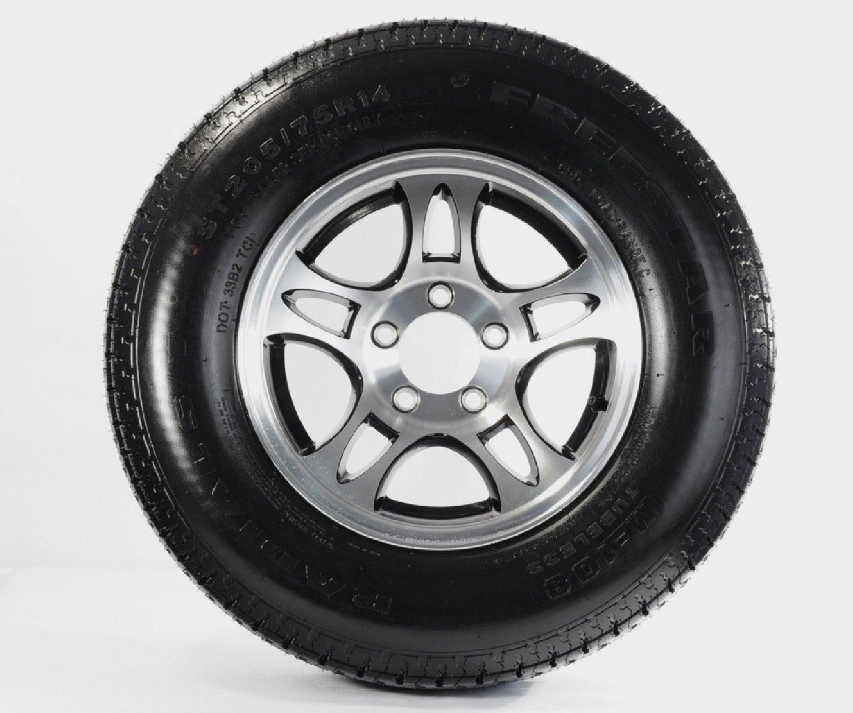 Two Radial Trailer Tires & Rims ST205/75R15 T03/BLK 5 Lug Aluminum Split/Black