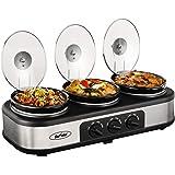 Triple Slow Cooker Buffet Server, 3 Pot Crock Pot Food Warmer, 3-Section 1.5-Quart Oval Slow Cooker Buffet Food Warmer Adjustable Temp Lid Rests Stainless Steel,Total 4.5 QT