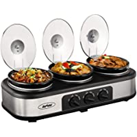 Slow Cooker, Triple Slow Cooker Buffet Server 3 Pot Food Warmer, 3-Section 1.5-Quart Oval Slow Cooker Buffet Food Warmer…