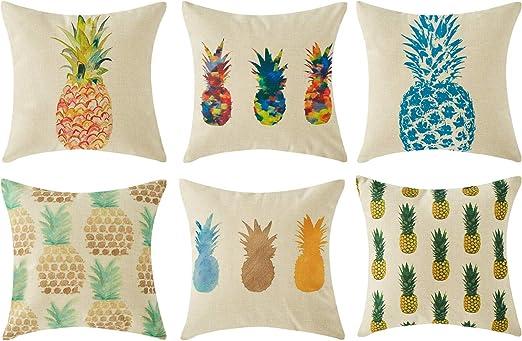 Topfinel Hogar 6 Cojines Lino algodón Fundas Almohada Decorativa ...