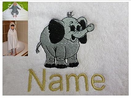 Toalla con capucha para un bebé elefante Logo y nombre de tu elección, 100 x