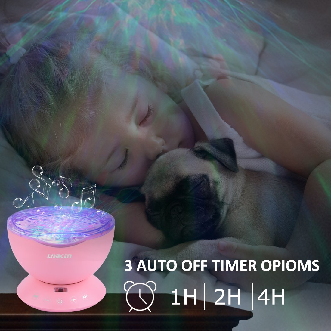 [Upgraded Model] Lobkin Remote Control Ocean Wave Projector ,Aurora Night Light Projector with Build-in Speaker, Mood Light for Baby Nursery, Adults and Kids Bedroom, Living Room (Pink)