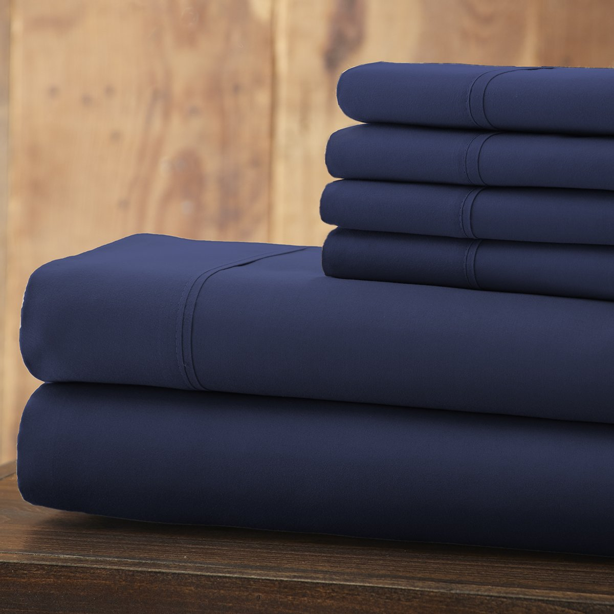 Spirit Linen 6 Piece Everyday Essentials 1800 Series Sheet Set, Queen, Navy