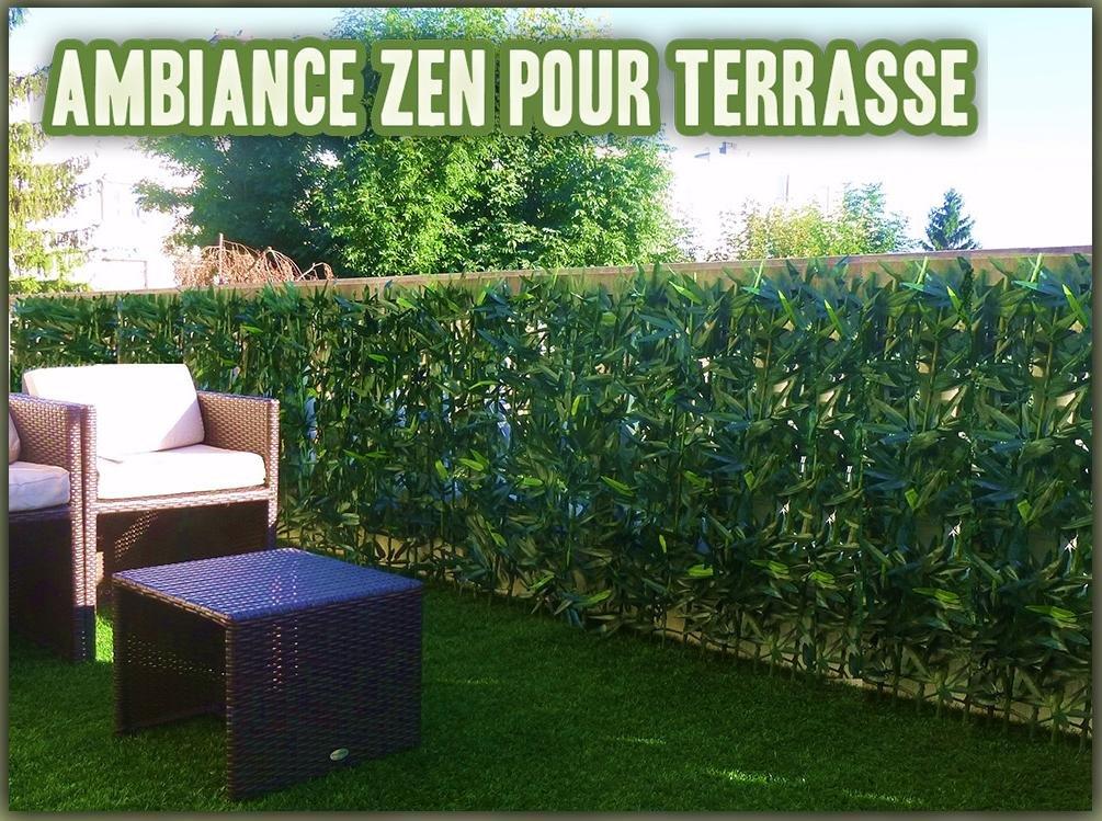 ECG Haie de Bambou sur support rigide bambou naturel Brise Vue Haie ...