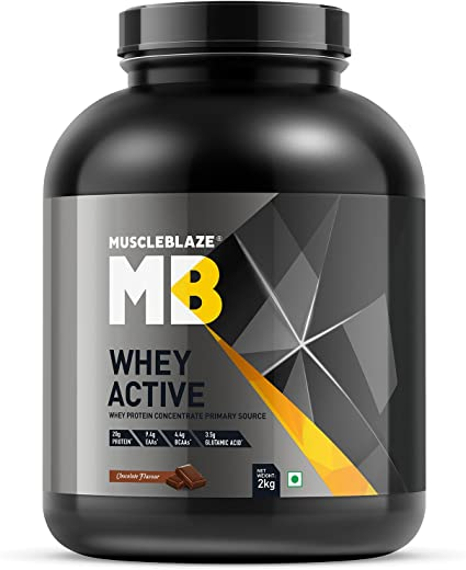 MuscleBlaze Whey Active Protein Supplement Powder (Chocolate, 2 kg /...