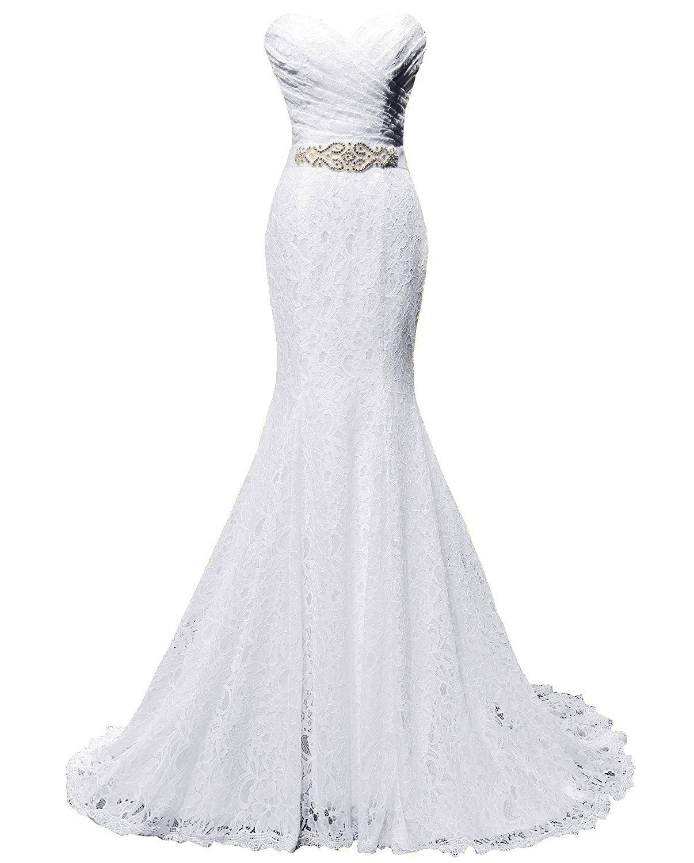 solovedress - Vestido de novia de encaje, de sirena, largo con banda