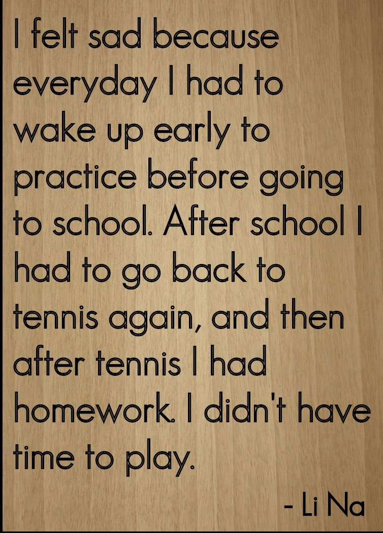''I felt sad because everyday I had to...'' quote by Li Na, laser engraved on wooden plaque - Size: 8''x10''