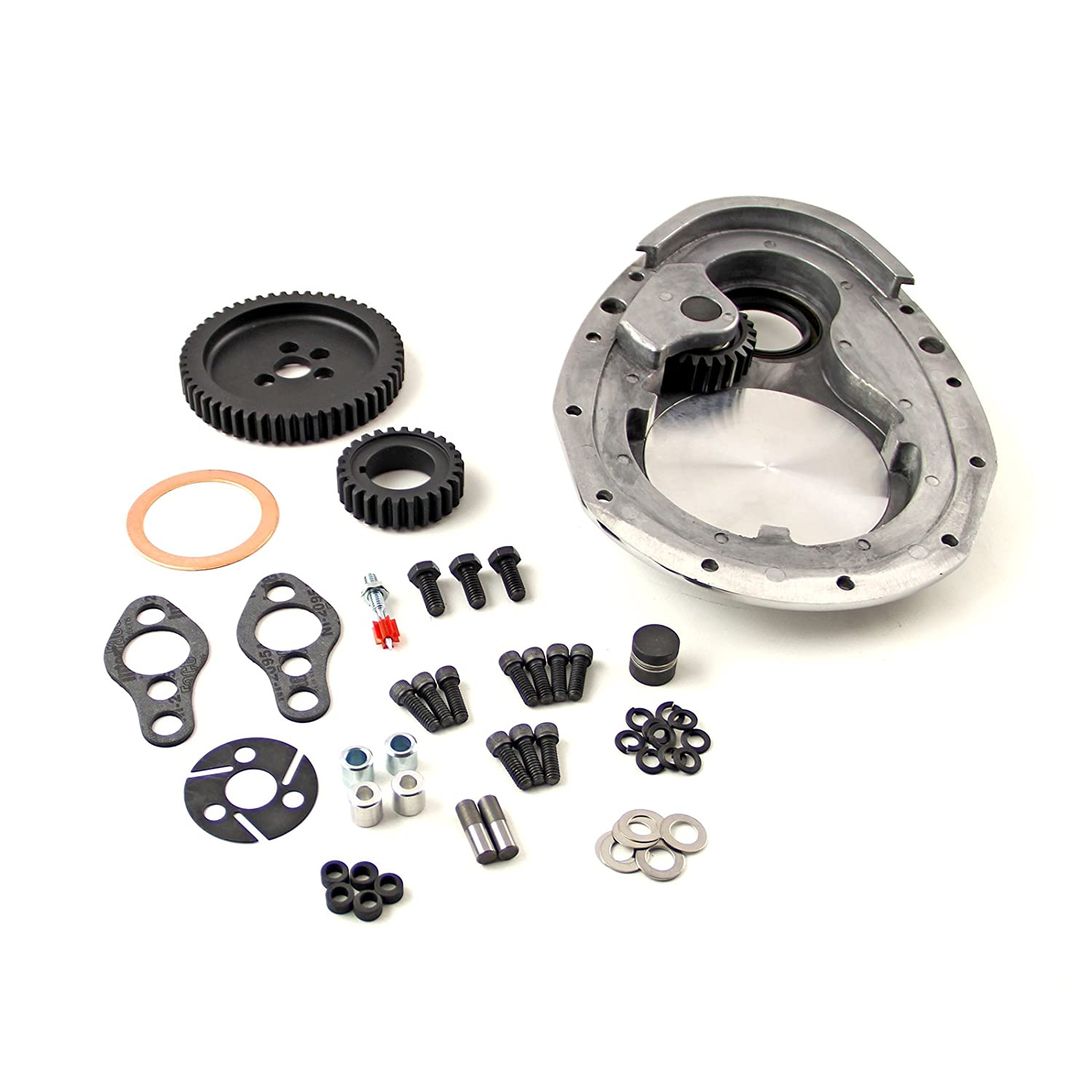 Procomp Electronics PCE267.1011 Chevy SBC 350 Single Idler Noisey Timing Gear Drive & Aluminum Timing Cover Set Single Idler