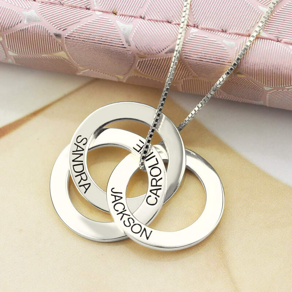 0 0 KIKISHOPQ Personalized Ring Engraved Name Necklace Personalized 3 Circles Disc Jewelry