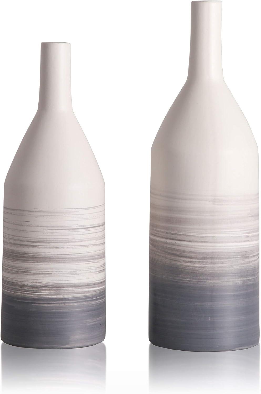 TERESA'S COLLECTIONS Ceramic Flower Vase, Modern Gray and White Vase,Decorative Aquarelle Vase for Home Decor (Set of 2)