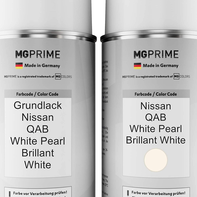 Mg Prime Autolack Sprühdosen Set Für Nissan Qab White Pearl Brillant White Grundlack Basislack Klarlack Spraydose 400ml Auto