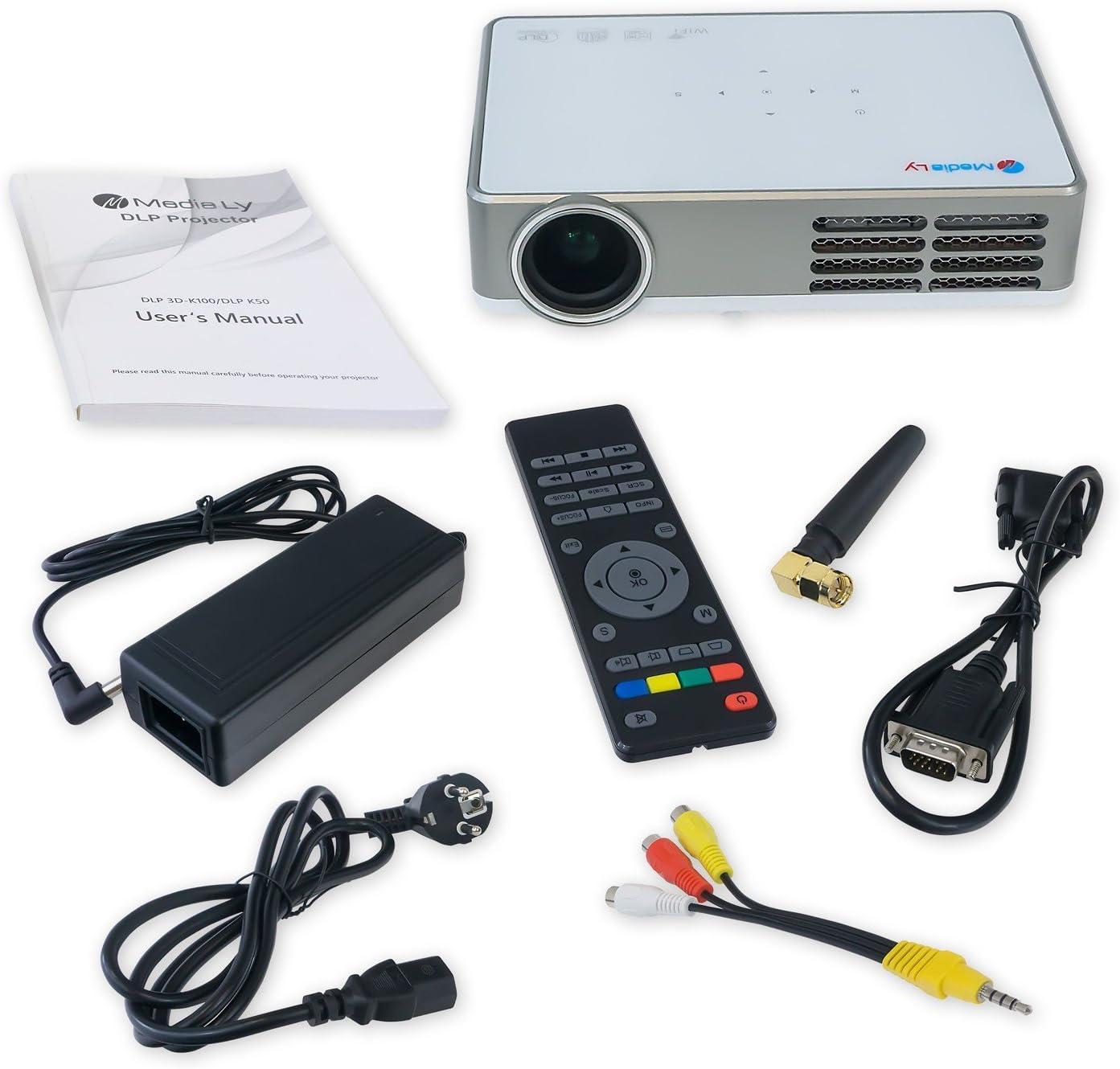 720p Nativ mit HDMI HD Ready bis 1920x1080 MediaLy LED Beamer DLP ...