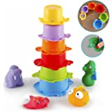 Bath Toy Baby, Stacking Bath Cups with colorful Bath Animal Squirty Toys,BPA Free,10 Pcs Toddler Toy for Boys and Girls