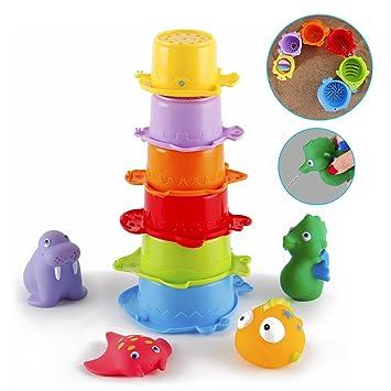 Juguetes Baño, Gutedeal Cubos apilables Bebe, Juguetes para Niños Juguetes Acuáticos, sin BPA, 10 Piezas Juguetes Bebes