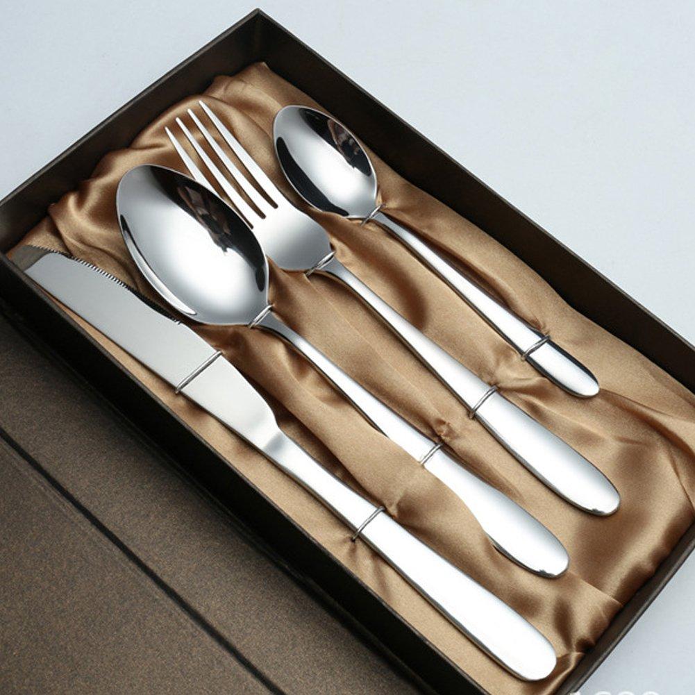 Cuchillo y cuchara para cubiertos de 4 piezas, Set de cubiertos de acero inoxidable Kaniuoa Caja de almacenamiento de madera para uso doméstico y ...