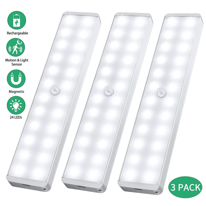 24 LED USB Recargable magnético Movimiento Sensor Luces nocturnas ...