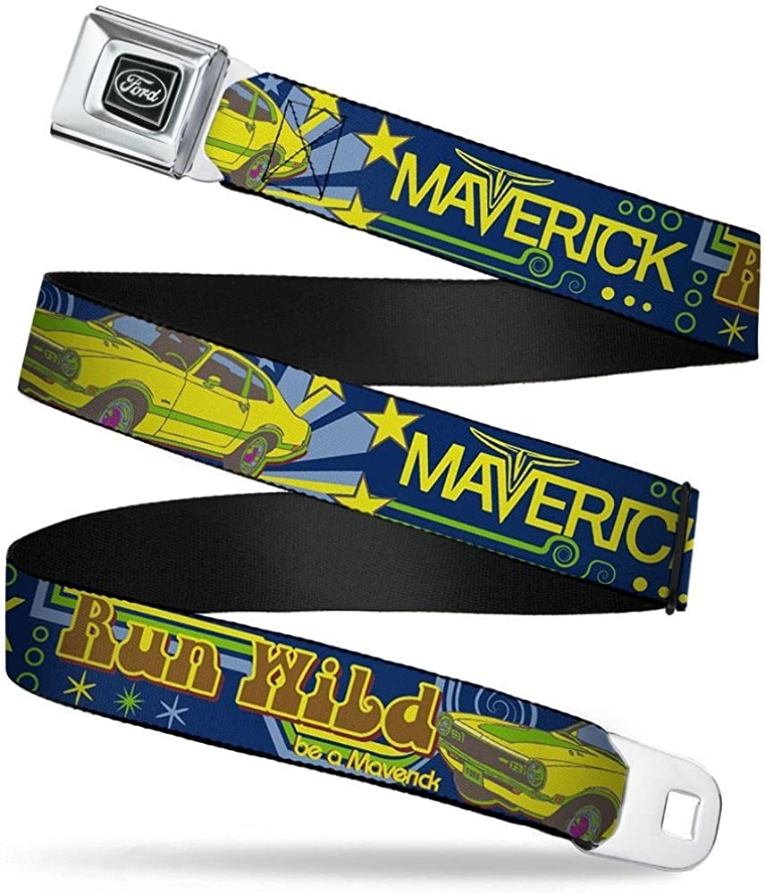 20-36 Inches in Length 1.0 Wide Buckle-Down Seatbelt Belt Vintage Ford MAVERICK-RUN WILD BE A MAVERICK Blues//Yellows