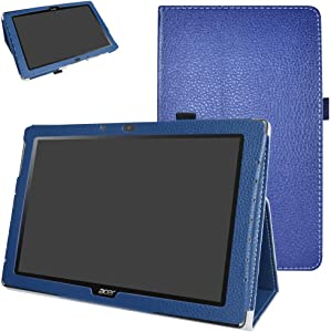 """Acer Iconia One 10 B3-A40 Case,Mama Mouth PU Leather Folio 2-Folding Stand Cover with Stylus Holder for 10.1"""" Acer Iconia One 10 B3-A40 Android Tablet,Dark Blue"""
