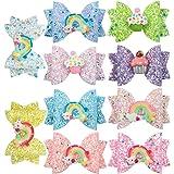 XIMA 10pcs hair bows for girls Children Barrettes Kid Hair Clips Spark Glitter Sequin 3Inch Bow Rainbow Accessories Spring Fashion Headwear (10pcs-Hair Clips)