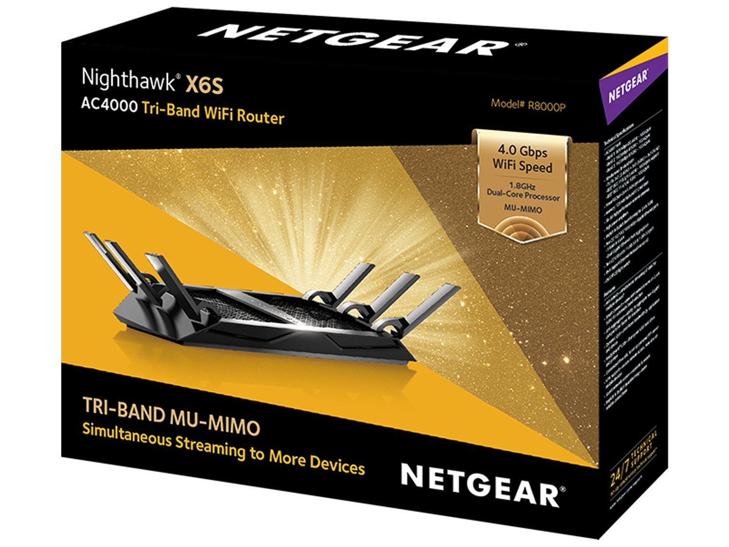NETGEAR Nighthawk X6S AC4000 Tri-band WiFi Router, Gigabit Ethernet, MU-MIMO, Compatible with Amazon Echo/Alexa (R8000P) 7 AC4000 WIFI-Up to 750+1625+1625 Mbps wireless speed TRI-BAND WIFI - Avoids interference & optimizes network performance MULTI-USER MIMO (MU-MIMO)-For simultaneous streaming to multiple devices