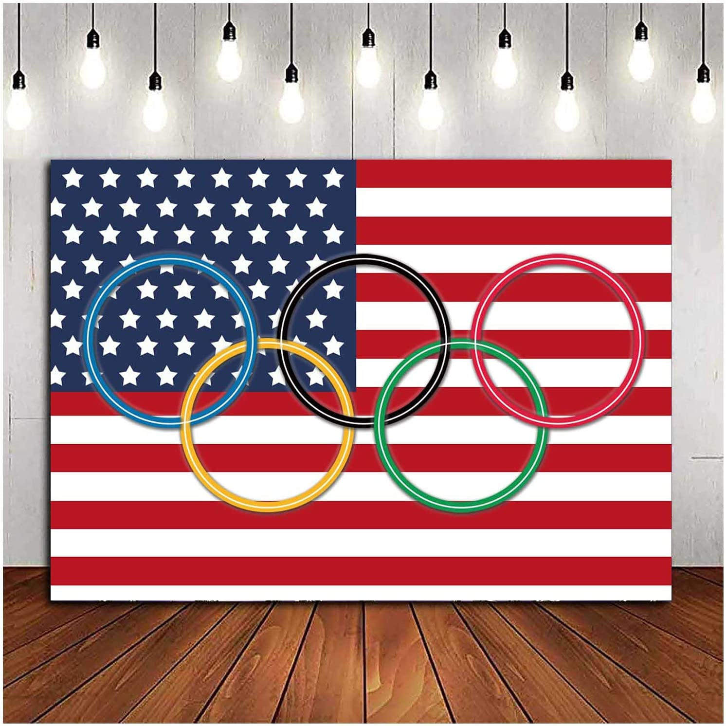 Olympic Rings International Photo Background Olympic Sport Countries for Classroom Garden Grand Opening Sports Clubs Party Events Decor Photography Backdrops 7X5FT Vinyl Shooting Props