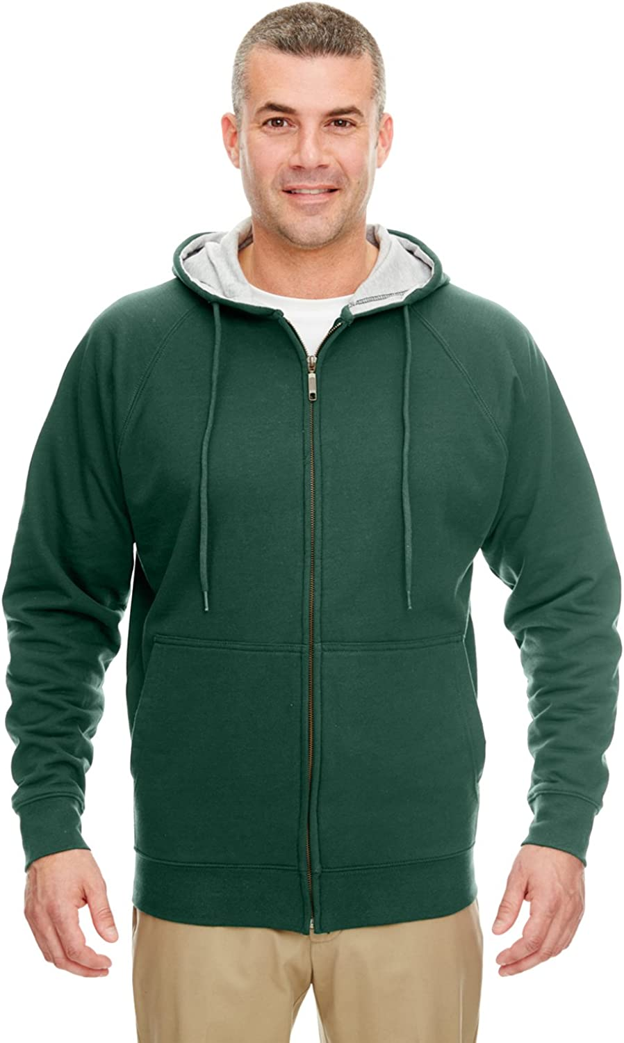 UltraClub Adult Thermal-Lined Full-Zip Hooded Fleece