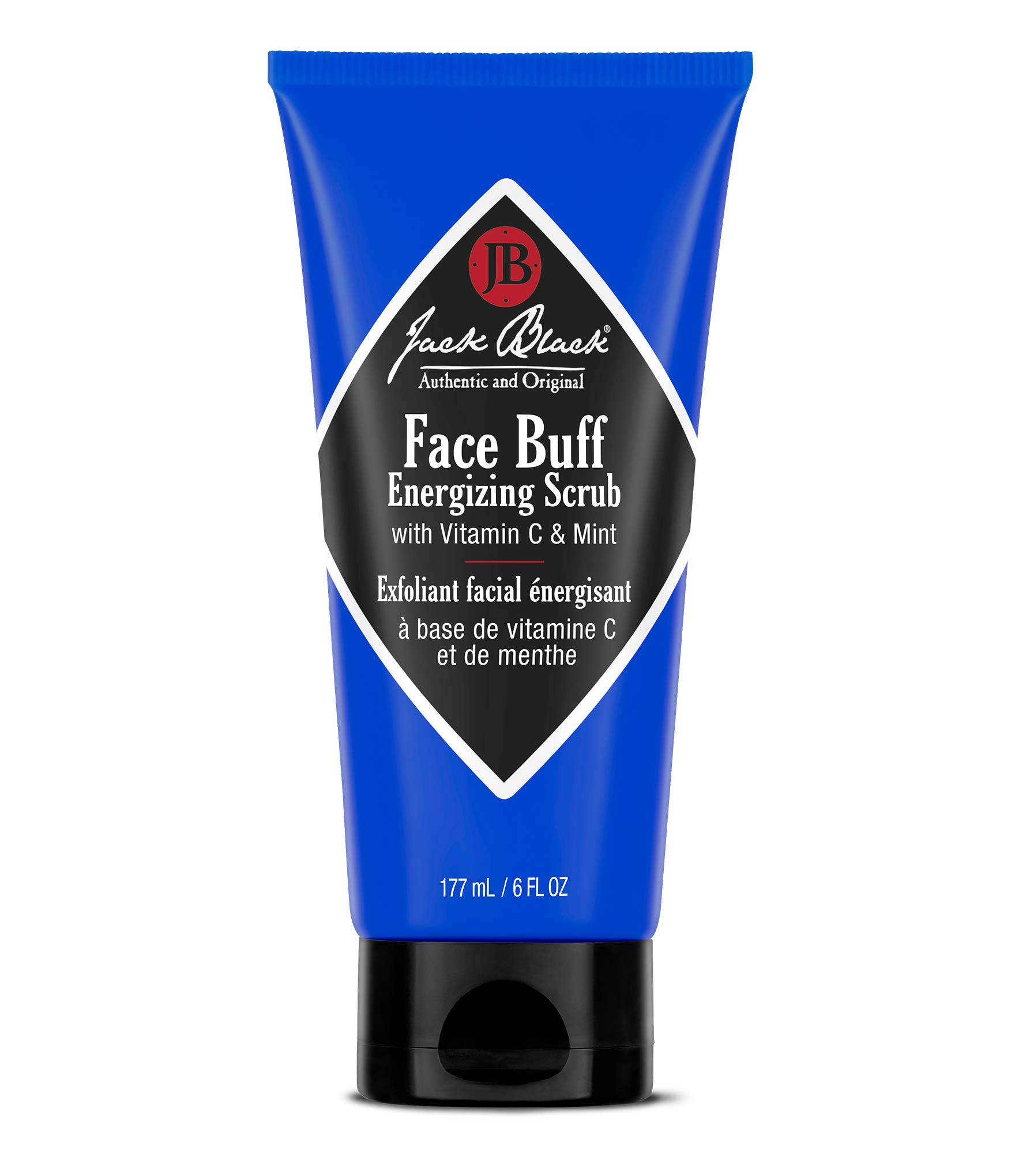 JACK BLACK - Face Buff Energizing Scrub - Deep-Cleaning Pre-shave Cleanser and Scrub, Reduces Ingrown Hairs, Exfoliates Skin, Removes Oil, Dirt, and Dead Skin Cells,6 oz. by Jack Black