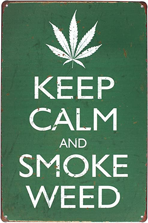 Metal Sign Warning Keep Calm Smoke Weed Store Shop Wall Home Decor Gate Cave Art
