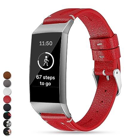 Feskio Bracelet de Rechange en Cuir véritable pour Montre connectée Fitbit Charge 3, Red,