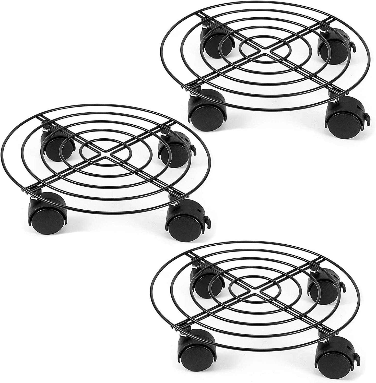 ZOENHOU 3 PCS 10.6 Inches Metal Plant Caddy, Round Flower Pot Rack, Heavy Duty Iron Potted Plant Stand, Trolley Casters with Lockable Rollers for Indoor, Outdoor, Patio, Home and Garden, Black