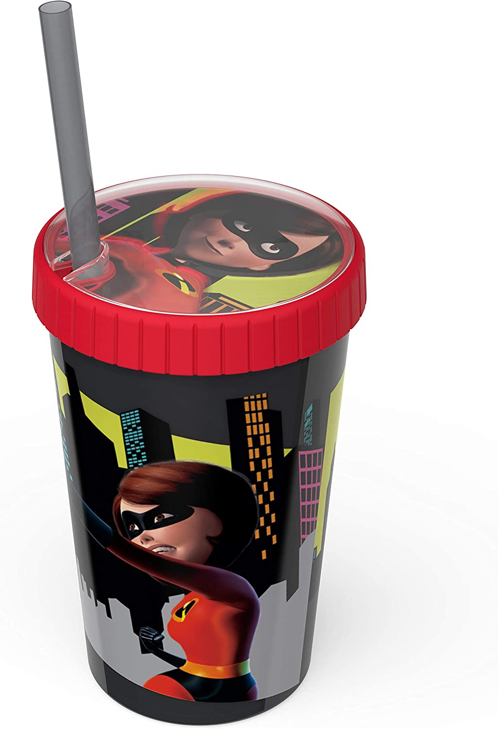 Zak Designs 16.5oz Incredibles 2 Tumbler With Embossed Lid And Durable Straw - Artwork In Domed Lid Makes Characters Pop Out; Splash-proof And Dishwasher Safe, Incredibles 2 Elastigirl E