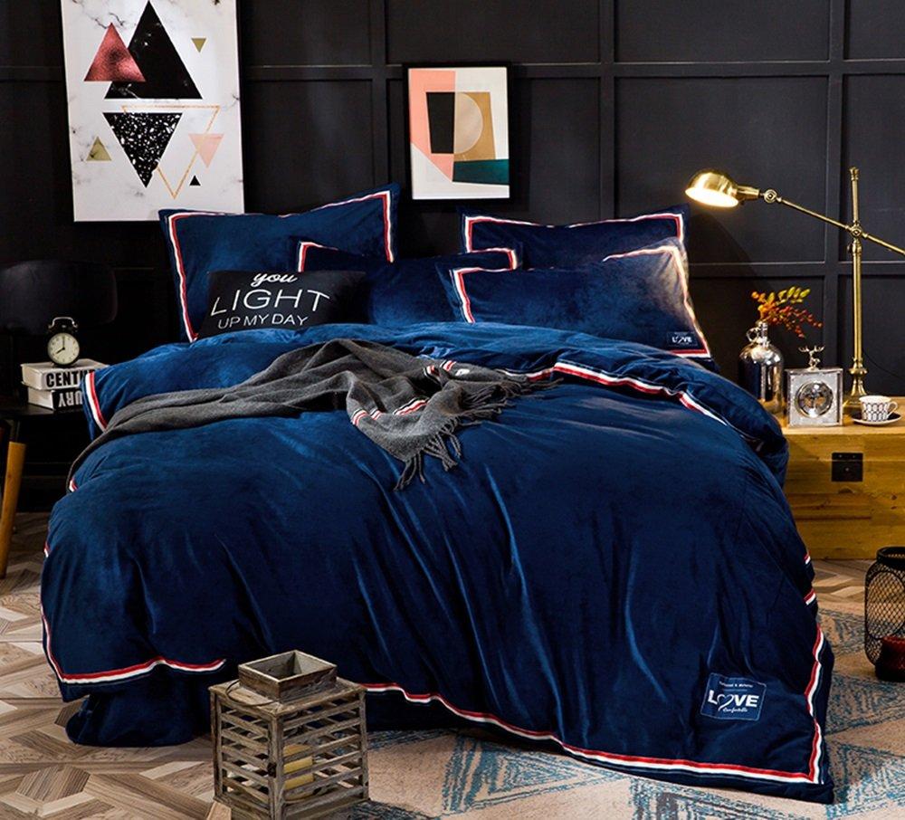 秋と冬は厚めの4つの部分、暖かいシート、サンゴフラフの寝具 ( 色 : ネイビー ねいび゜ , サイズ さいず : 1.8m bed ) B078GCGLKY 1.8m bed|ネイビー ねいび゜ ネイビー ねいび゜ 1.8m bed