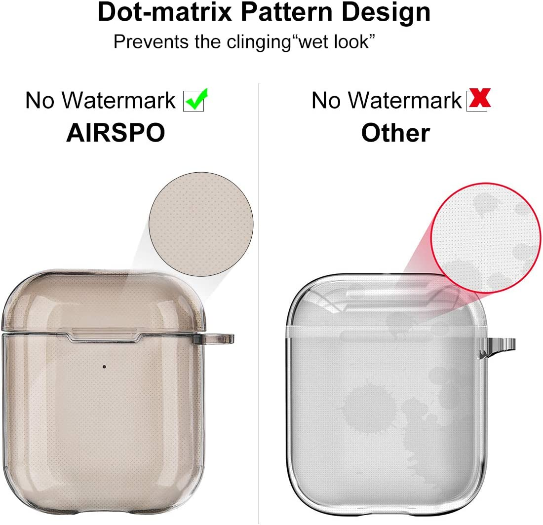 Clear AIRSPO Airpods Case Cover Clear Soft TPU Protective Cover Compatible with Apple AirPods 1//2 Wireless Charging Case with Keychain