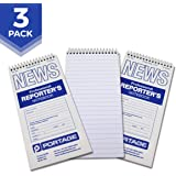 "Portage Reporter's Notebook – #200 Gregg Ruled 4"" x 8"" Professional Spiral Notebook for Taking Notes in the Field - 140 Pages (3 Pack)"