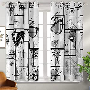 June Gissing Eiffel Tower Sliding Curtain Women Faces with Different Eye Makeup Eiffel Tower Romance Paris Image Darkened Curtains W52 x L39 Black White Grey