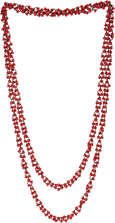 COOLSTEELANDBEYOND Hermoso Rojo Madera Perla Largo Cadena Babero Gargantilla Collar con Colgante, Multi-Hilo
